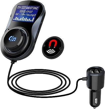 Transmisor FM Coche Manos Libres Bluetooth Adaptador de Radio, Pantalla LED de 1.44 Pulgadas, Lee la Tarjeta TF, HiFi Cargador de Coche Kit con 2 USB para IOS Android