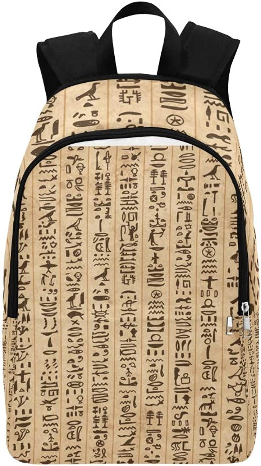 Egypt Hieroglyphs Grunge Your Casual Daypack Travel Bag College School Backpack for Mens and Women