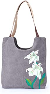 Canvas Handbags for Women Painting Flower Casual Style Canvas Hand Bags Shoulder Bag for Women