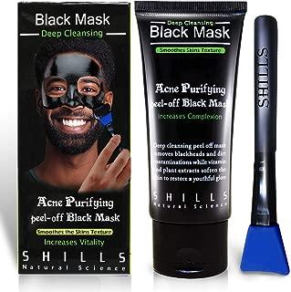 SHILLS Black Mask, Blackhead Remover Mask, Charcoal Peel Off Mask, Charcoal Mask, Charcoal Face Mask for All Skin Types with Brush - 50 ml