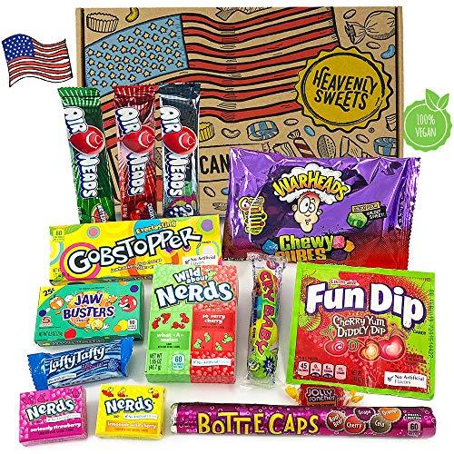 Heavenly Sweets Dulces Veganos Americanos - Selección de Golosinas y Chocolates de EE.UU. - Regalo de Navidad, Cumpleaños, San Valentín - 14 Piezas en Envases Retro