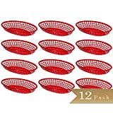Pack of 12 - TrueCraftware - Oval Red Plastic Fast Food Baskets - 9 1/4' X 5 3/4'