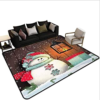 MikiDahome Patio Rugs Outdoor, Cute Snowman with Santa Hat in The Garden with a Gift Box and Lantern Image, 15.5