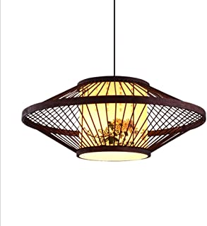 LRD New Chinese Style Bamboo Chandelier Retro Lantern Pendant Lamp Bamboo Lampshade Bedroom Dining Weave Hanging Light Ceiling Lamp Fixtures Creative Japanese Style Simple Bamboo Weaving Lamp