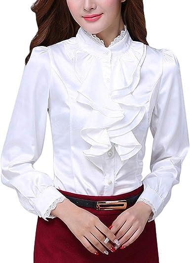 ORANDESIGNE Moda Mujer Gasa Color Sólido de Manga Larga Cuello Alto Sexy Encaje Tops Casuales Blusa Camiseta Casual OL Shirts