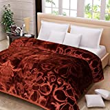 SRS Luxury Mink Floral Double Bed Blanket (Brown, King Size)