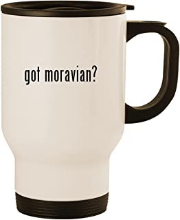 got moravian? - Stainless Steel 14oz Road Ready Travel Mug, White