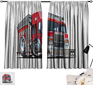 Aurauiora Decorative Curtains for Living Room Truck,Cartoon Style Red Fire Truck Emergency Services Safety of The City Transportation, Red Pale Grey 72