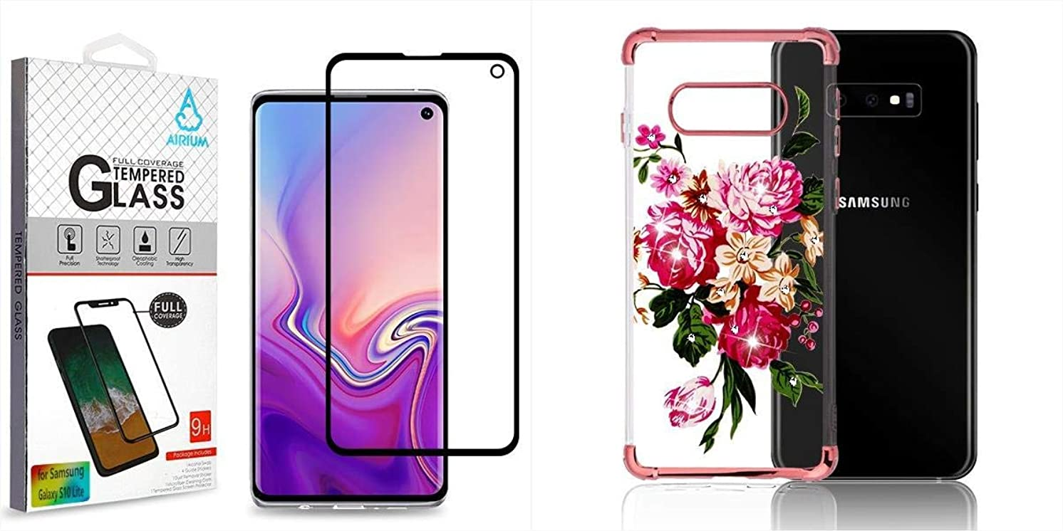 Combo Pack Full Coverage Tempered Glass Screen Protector/Black for Samsung Galaxy S10E and Electroplating Rose Gold/Pink Peony Diamante Klarion Candy Skin Cover (with Package) for Samsung Galaxy S10E