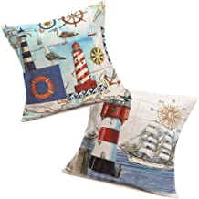 Fukeen Nautical Decorative Pillow Covers Lighthouse Navigation Map Compass Sailboat Cotton Linen Throw Pillow Cases Ocean Sea Gull Home Room Decor Standard 18x18 Inch Pillowcase Cushion Cover 2 Pack
