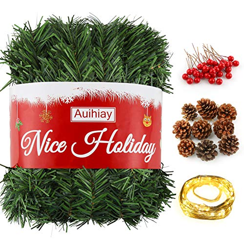 Auihiay 16.5M Christmas Garland Indoor Green Wreath with 10M 100 LED String Light, 30 Red Berries and 9 Pine Cones for Home Christmas Decorations