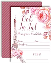 Ooh La La Watercolor Floral Paris Party Invitations for Birthdays, Baby Showers, Bridal Showers, Engagement Parties and more. 20 5