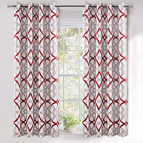 DriftAway Alexander Thermal Blackout Grommet Unlined Window Curtains Spiral Geo Trellis Pattern Set of 2 Panels Each Size 52 Inch by 63 Inch Red and Gray