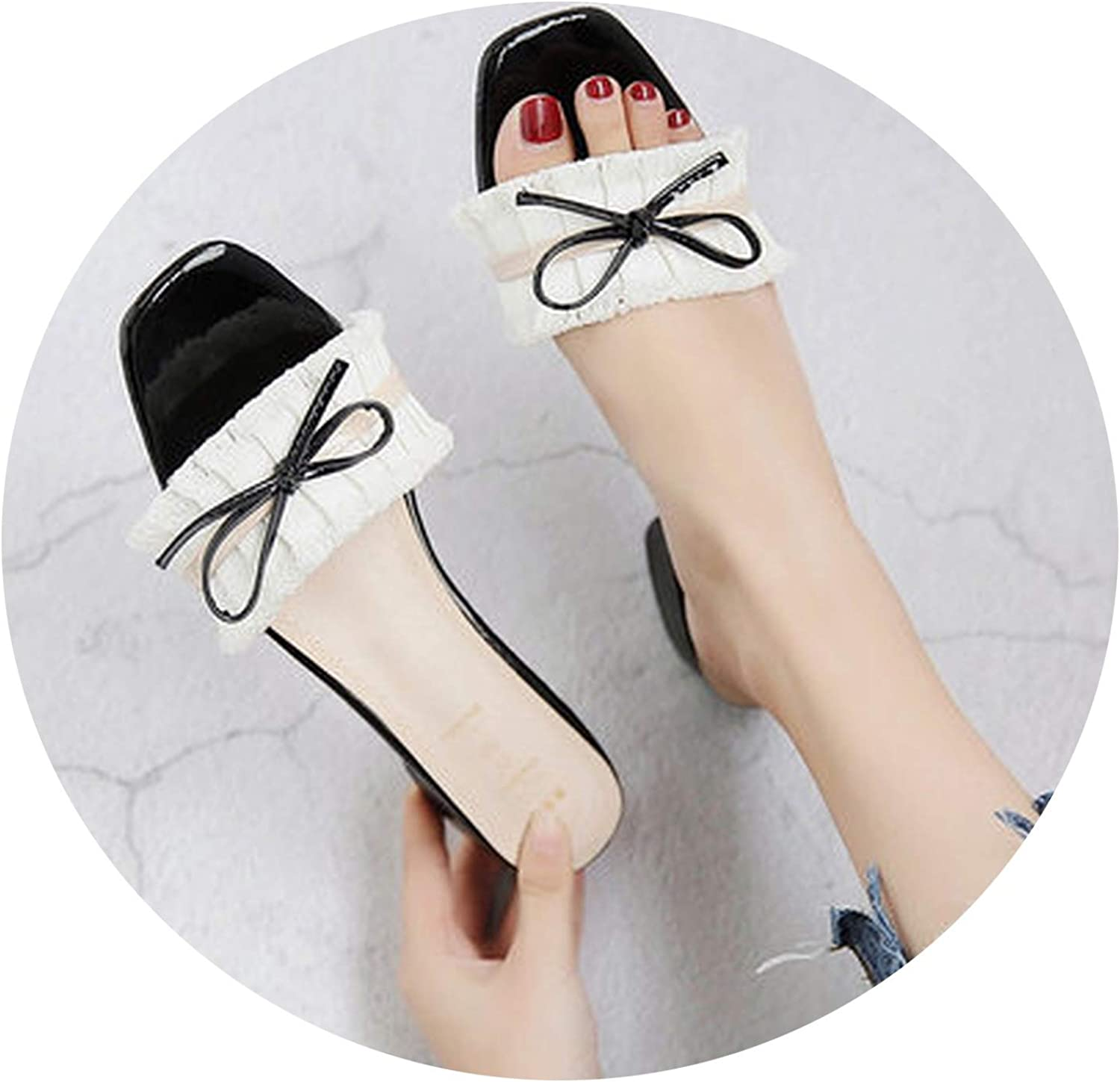 Mindcup-slides-sandals 2019 Summer New Square Head Bow Thick with a Word Drag in The Fashion wear Slippers Women