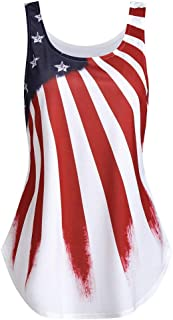 Women's Flag Top Tanks 4th July Flag Printed Stars and Stripes Patriotic Flag Shirts Blouse