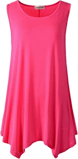 LARACE Lanmo Women Plus Size Solid Basic Flowy Tank Tops Summer Sleeveless Tunic (2X, Rosepink)