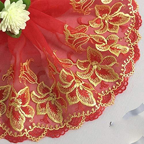 2 Yards rode kanten rand geborduurde bloemen Kant stof 7,09 inch breed DIY Craft & naaien jurk Kledingaccessoires Hoge kwaliteit, rood