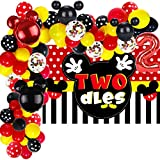 98 Pcs Mickey 2nd Birthday Party Supplies 5x3 FT Mickey Oh Twodles Photography Backdrop Mickey Inspired Second Birthday Balloon Arch Garland Kit for Mouse 2th Birthday Party Decorations