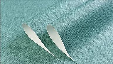 Moderne Minimalistische 3D Niet-Geweven Behang 9.5 m x 0.53 m Plain Linnen Patroon Effen Kleur Turquoise Behang Roll voor ...