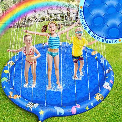 Dookey Sprinkle and Splash Water Play Mat, 68 Inches Inflatable Non-slip Splash Mat Paddling Pool Outdoor Spray Water Durable Summer Toys, Garden Activities for Children and Pets