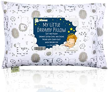 Toddler Pillow With Pillowcase - 13X18 Soft Organic Cotton Baby Pillows For Sleeping - Machine Washable - Toddlers, K...