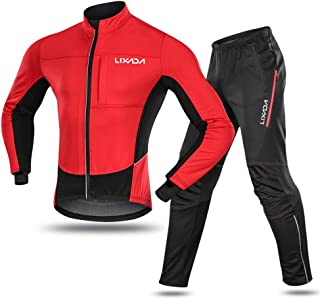 Lixada Men's Cycling Jersey Suit Winter Thermal Fleece Long Sleeve Mountain Bike Road Bicycle Shirt Padded Pants