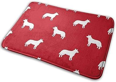 Australian Cattle Dog Pet Quilt A Cheater Silhouette Coordinate_23543 Doormat Entrance Mat Floor Mat Rug Indoor/Outdoor/Front