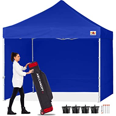 ABCCANOPY Canopy 10x10 Pop Up Commercial Canopy Tent with Side Walls Instant Shade, Bonus Upgrade Roller Bag, 4 Weight Bags, Stakes and Ropes, Royal Blue