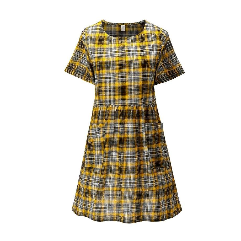 Women's Large Size Round Neck Plaid Print Pocket Cotton Short Sleeve Long Dress
