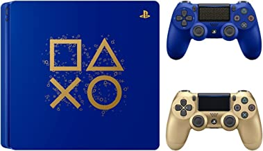 Playstation 4 Days of Play Limited Edition 1TB Slim Console with Extra Gold Dualshock 4 Wireless Controller Bundle