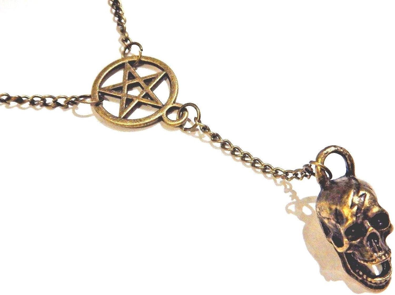 Bronze Skull & Inverted Pentagram Pendant Y-Shaped Necklace Pentacle Satanic Dark Magic Occult Gothic