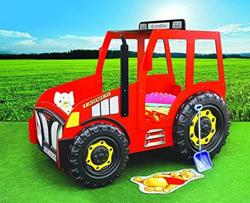 Traktorbett in rot inkl. Matratze + Rost