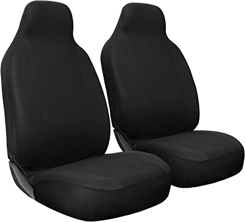 popular OxGord Car Seat Cover - Poly Cloth outlet online sale Solid Black with Front Low Bucket discount Seat - Universal Fit for Cars, Trucks, SUVs, Vans - 2 pc Set outlet sale