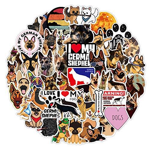 JZLMF 50 pegatinas de perro pastor alemán con graffiti impermeables para equipaje, portátil, rollo, taza de agua, pegatinas