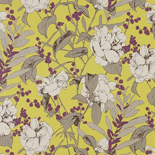 Romo - Papel pintado Beatrix color amarillo. Diseño de flores grandes.