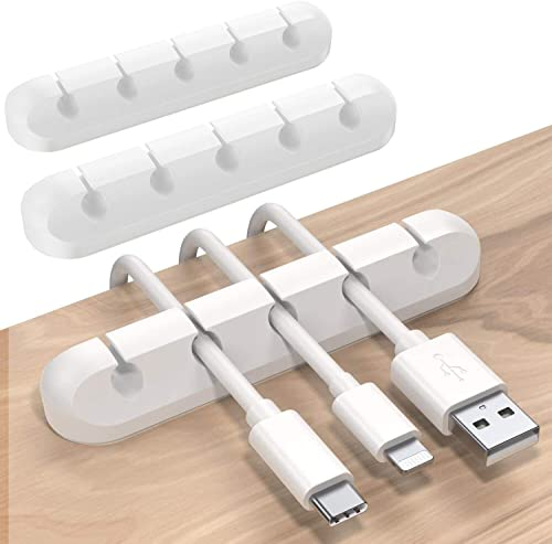 SOULWIT 3-Pack Cable Holder Clips, Desktop Cable Organizer Cord Wire Management for USB Charging Cable Power Cord Mou...