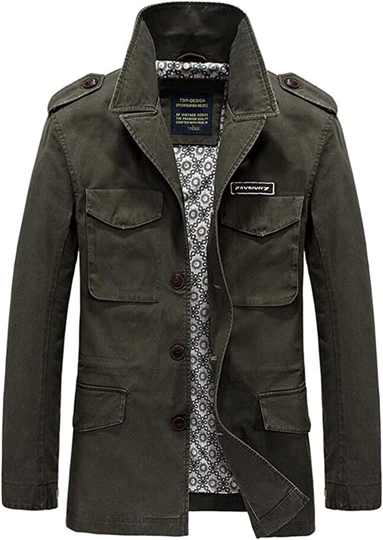Long Trench Coat Men Casual Multi Pockets Military Jacket Windbreaker Cotton Trench Coats