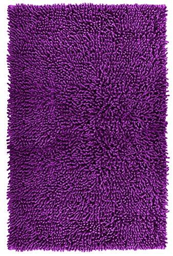 Lashuma Badvorleger Lila - Brombeer Chenille, Edle Badematte Schnelltrocknend, 50 x 80 cm
