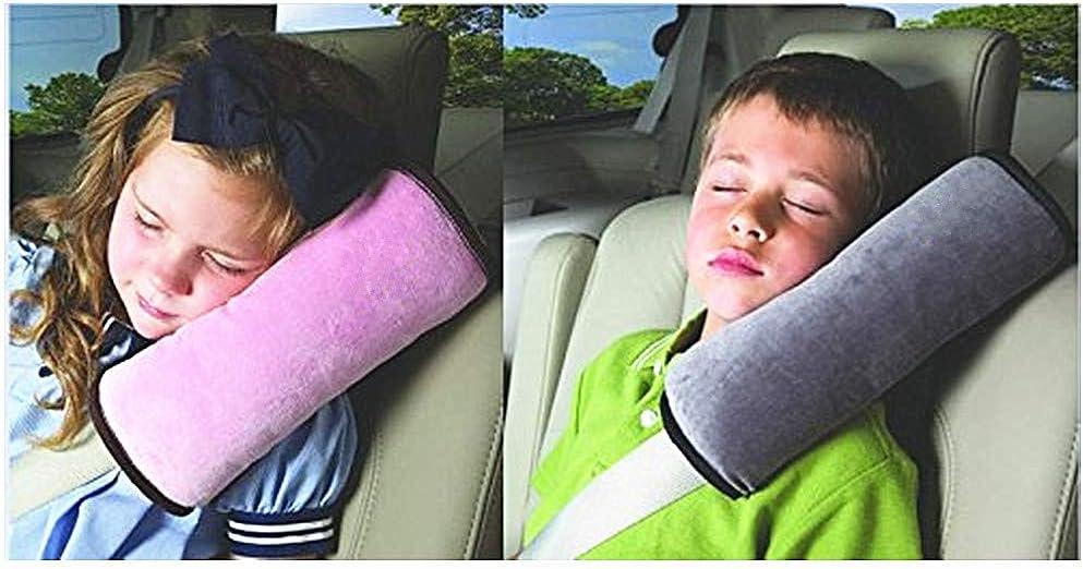 Colorsheng 2 pcs Auto Pillow Car Safety Belt Protect, Shoulder Pad, Adjust Vehicle Seat Belt Cushion for Kids (Grey,Pink)