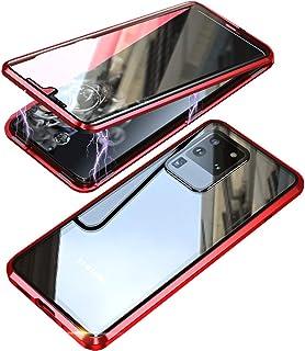 Funda para Samsung Galaxy S20 Ultra 5G Magnético Carcasa,Cubierta de 360° Proteccion Delantera y Trasera de Cristal Templado Transparente Cover,Estuche de Adsorción Magnética Metal Bumper Case-Rojo