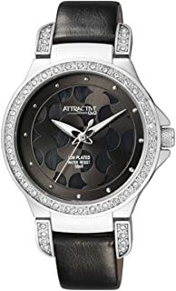 Q&Q Women's Black Dial Leather Band Watch - DA81J302Y