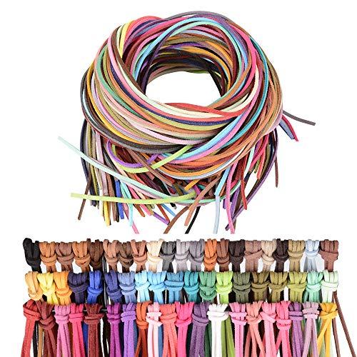 60pcs 60 metros 3mm Cuerda de Cuero Cordón Pulsera Plana 60 Colores Hilo Cuero Collar Colgante Manualidades Fabricación de Bisutería y Abalorios Artesanía