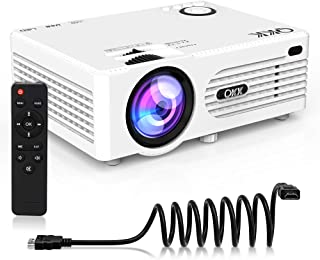 """QKK [2020 Upgrade 4200Lux] Potable Mini Projector [with Tripod] LED Projector Full HD 1080P Supported, 170"""" Display for TV Stick, Video Game DVD Player, Smartphone Home Theater, Dual USB Port"""