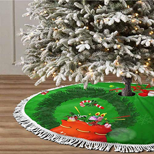Christmas Tree Skirt, 36 inches Christmas Decoration Fringed Lace (Christmas Theme) for Christmas Decorations for Xmas Party and Holiday Decorations
