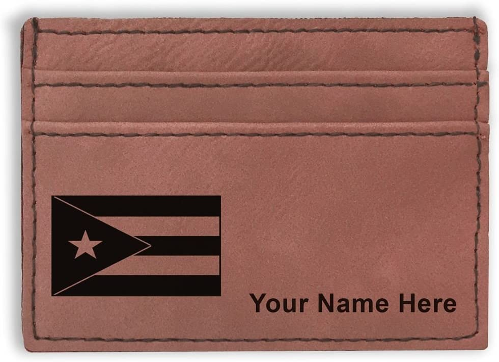 Money Clip Wallet, Flag of Puerto Rico, Personalized Engraving Included (Dark Brown)