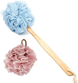 Loofah Shower, Bath Sponge Set Includes 1 Long Handled Back Scrubber & 1 Shower Brush for Women & Men Body, Face and Spa Washing