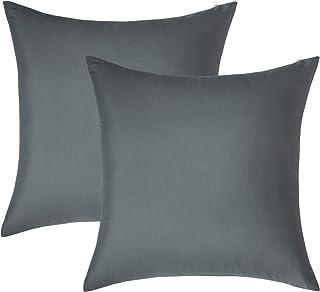 BEDSURE Taie d'oreiller 65x65 - Lot de 2 Housses Oreiller Gris en Microfibre Brossée, Housse Coussin Oreiller avec Fermetu...
