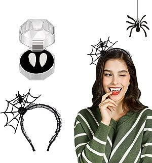 Halloween Decor Set,Luxital Halloween Headband with Vampire Fangs Teeth Cosplay Party Costume Accessories Halloween Party Supplies Devil Headband for Women Adults Girls