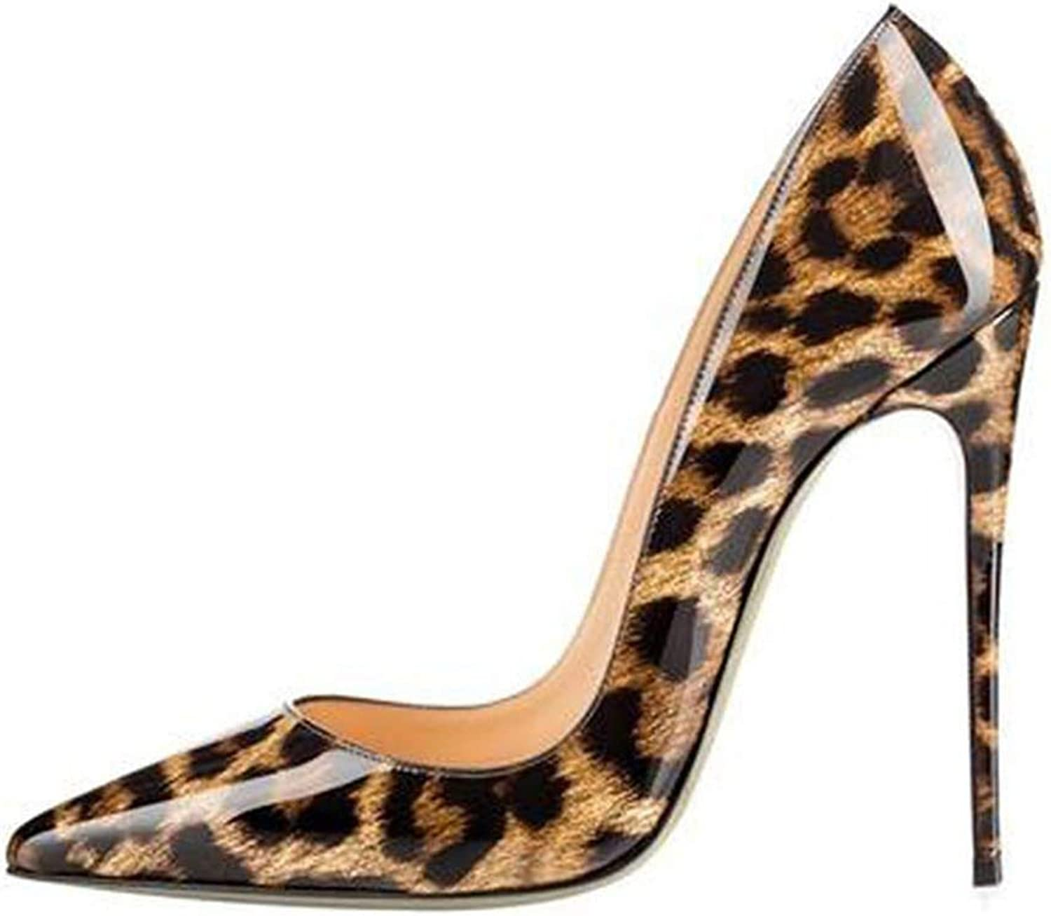 YP-fashion High Heels shoes Women Leopard Print Sexy Pointy Toe Stilettos 10 12cm