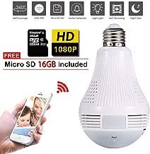 NAIYO Light Bulb Camera,Include 16GB Card 1080P WiFi Security Camera, 2MP Wireles IP LED..